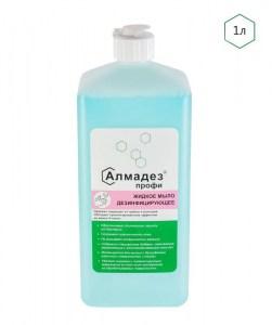 Дезинфицирующее средство в виде жидкого мыла «Алмадез-профи» Дозатор-насос 1 л - изображение