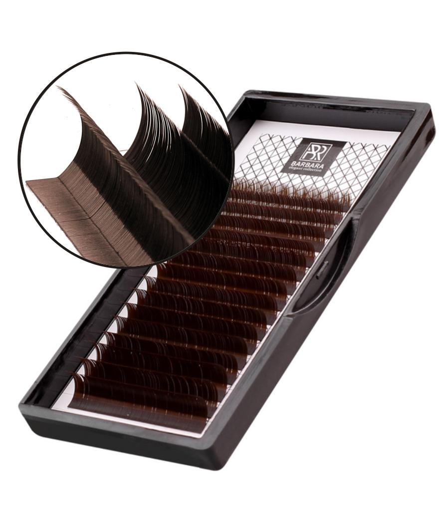 Ресницы тёмно-коричневые BARBARA МИКС, изгиб L+ - изображение