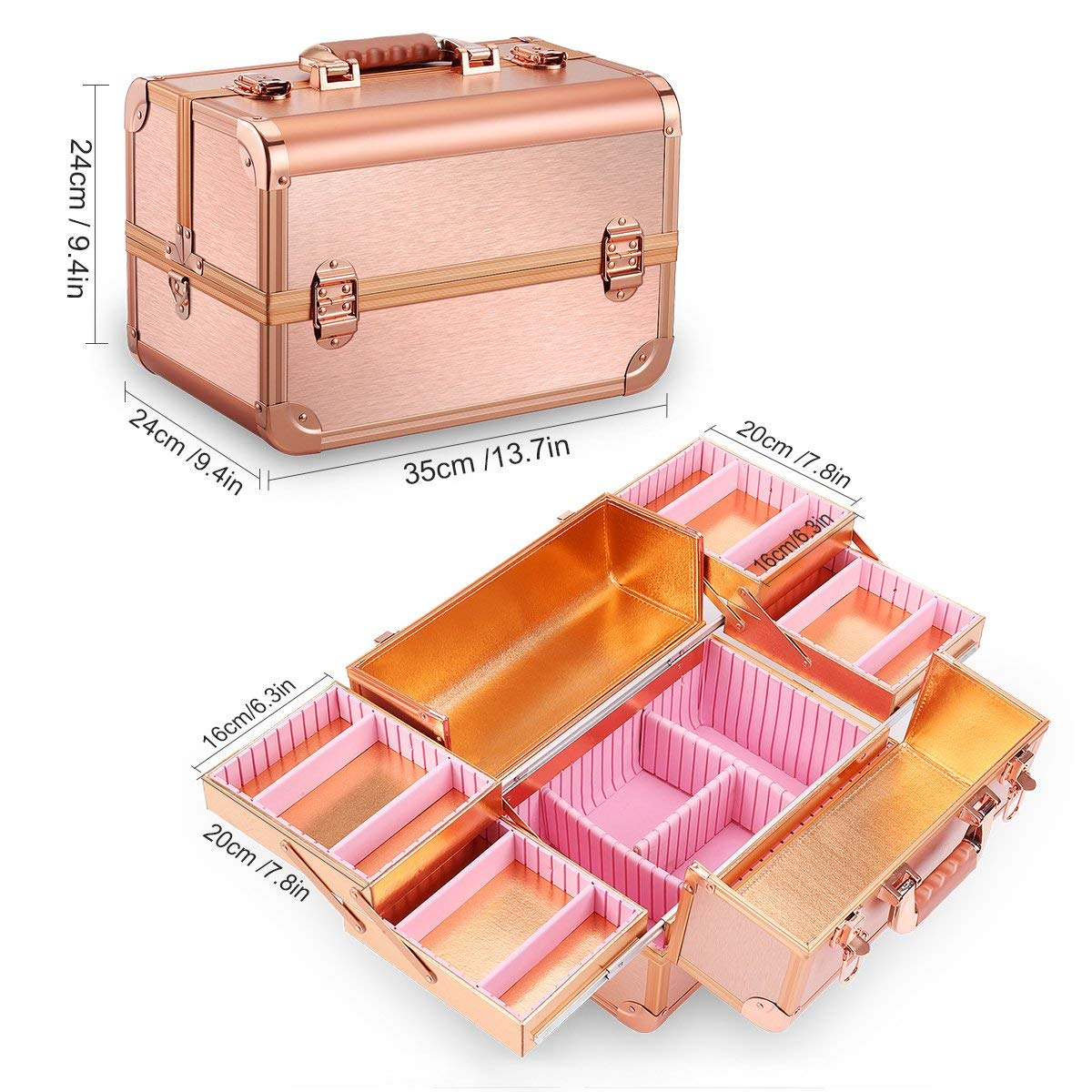 Бьюти кейс для косметики CWB7350 розовое золото - изображение