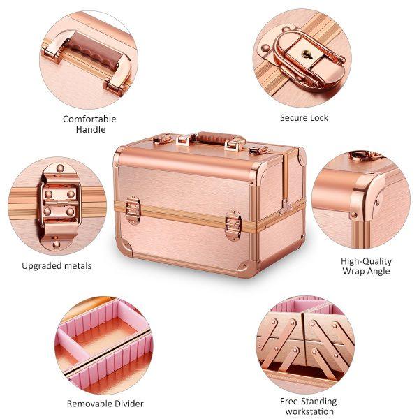 Бьюти кейс для косметики CWB7350 розовое золото - изображение 5