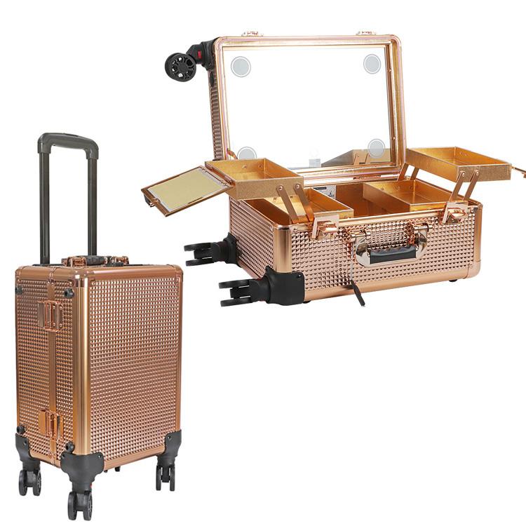 Мобильная студия визажиста золотой бриллиант без ножек LC 7006 - изображение
