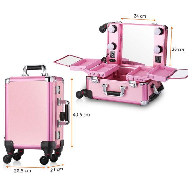 Мобильная студия визажиста розовая без ножек LC 006 - изображение