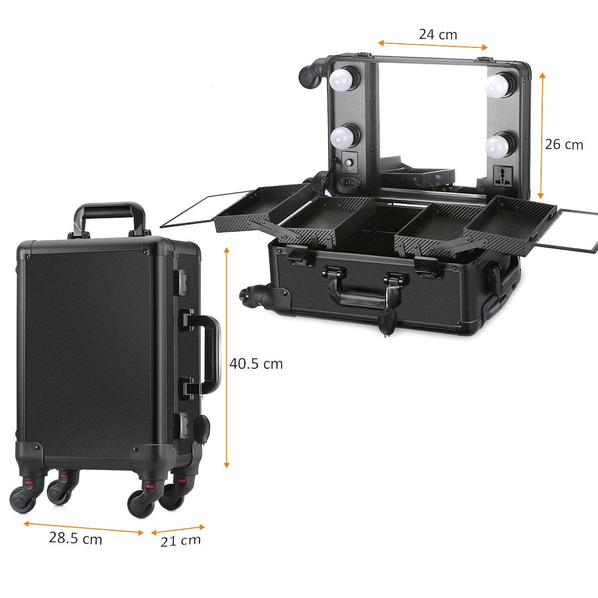 Мобильная студия визажиста чёрная без ножек LC 006 - изображение