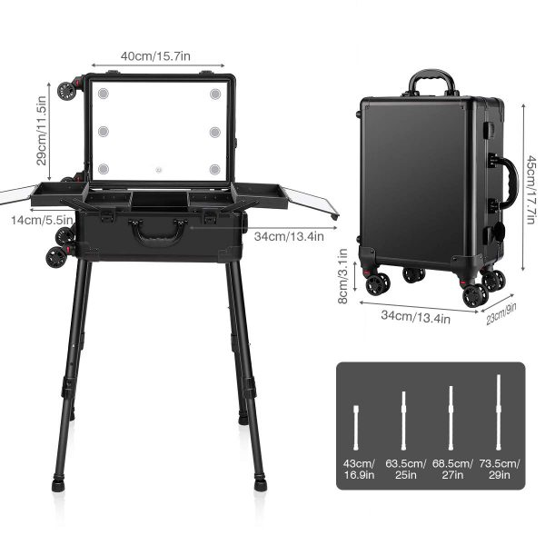 Мобильная студия визажиста чёрная Premium LC031 - изображение 4