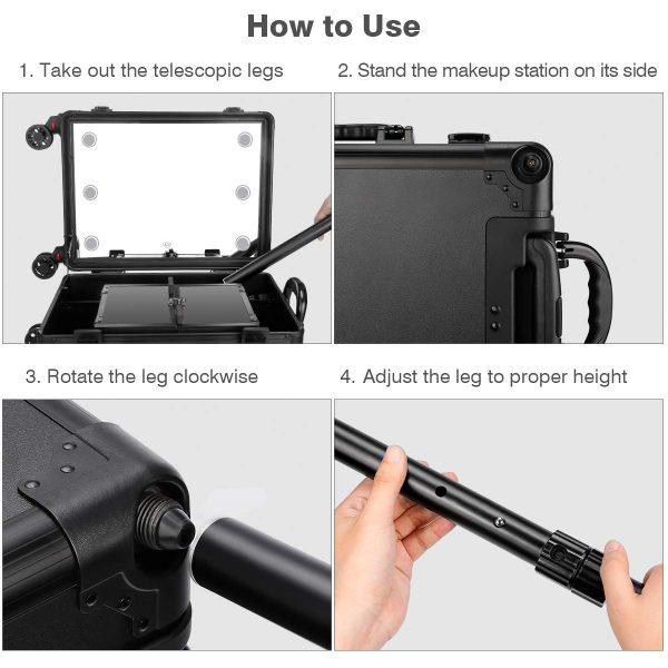 Мобильная студия визажиста чёрная Premium LC031 - изображение 6