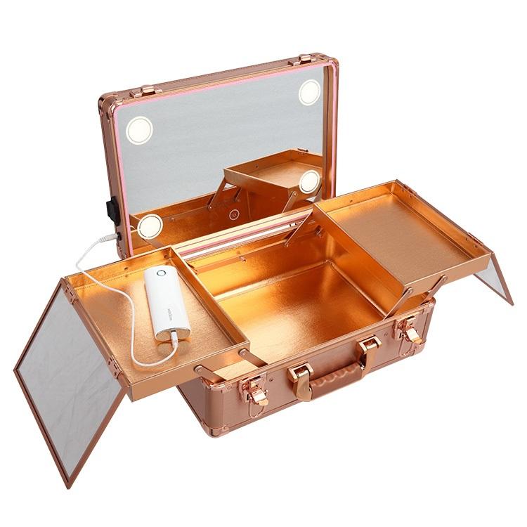 Мобильная студия визажиста без ножек LC 019 розовое золото - изображение