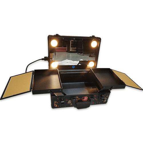 Мобильная студия визажиста без ножек LC 019 черный с цветами - изображение