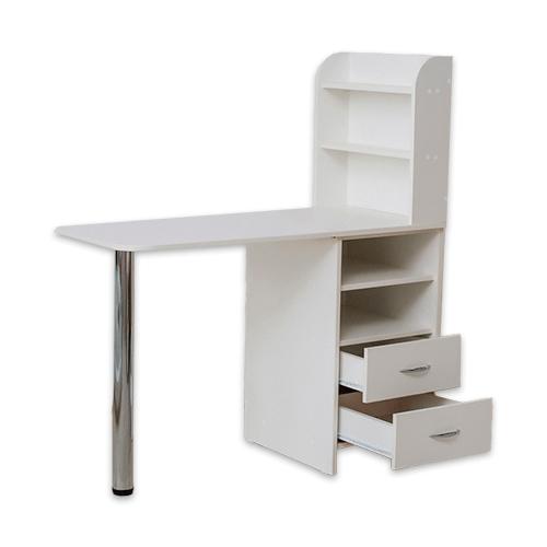 Маникюрный стол с тумбой 2 полки (белый) - изображение