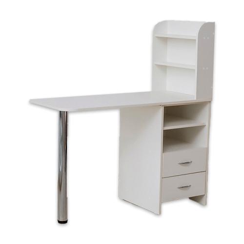 Маникюрный стол с тумбой 2 полки (белый) - изображение 3