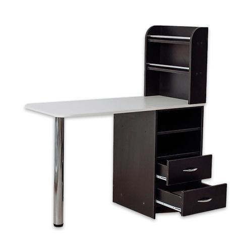 Маникюрный стол с тумбой 2 полки (черный) - изображение