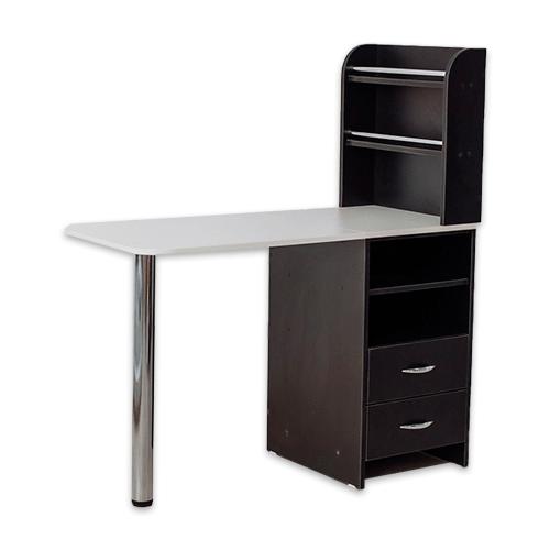Маникюрный стол с тумбой 2 полки (черный) - изображение 3