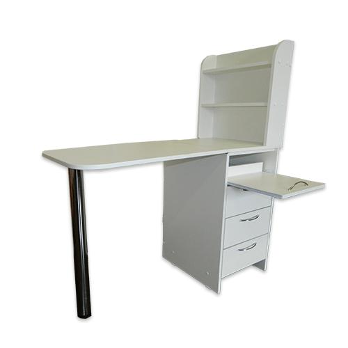 Маникюрный стол с тумбой 3 полки + полочка под аппарат (белый) - изображение
