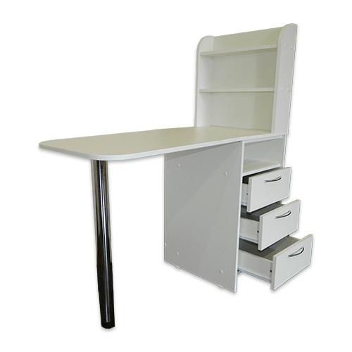 Маникюрный стол с тумбой 3 полки (белый) - изображение