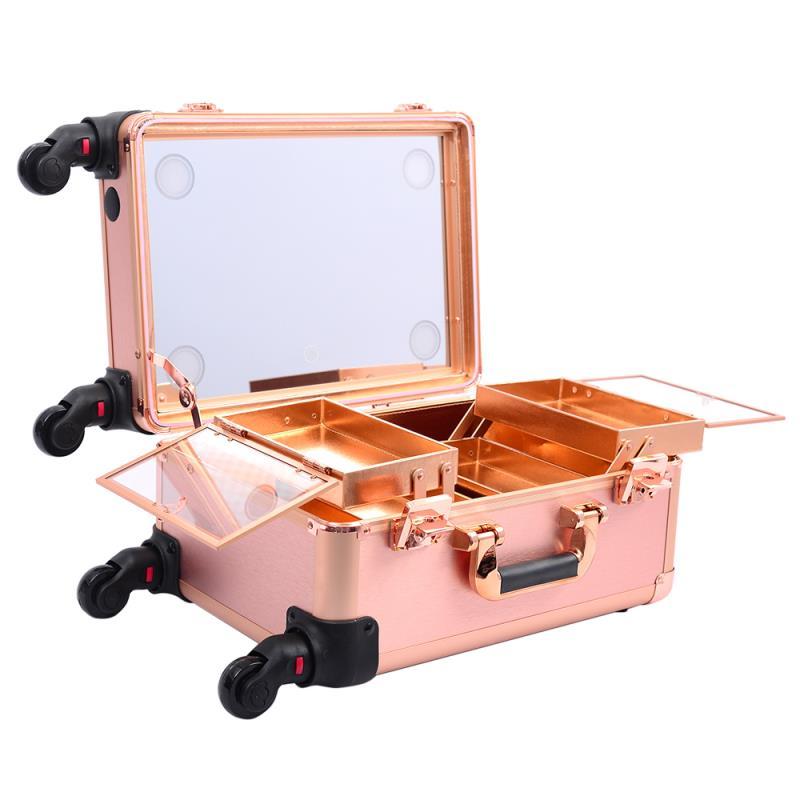 Мобильная студия визажиста розовое золото без ножек LC 7006 - изображение