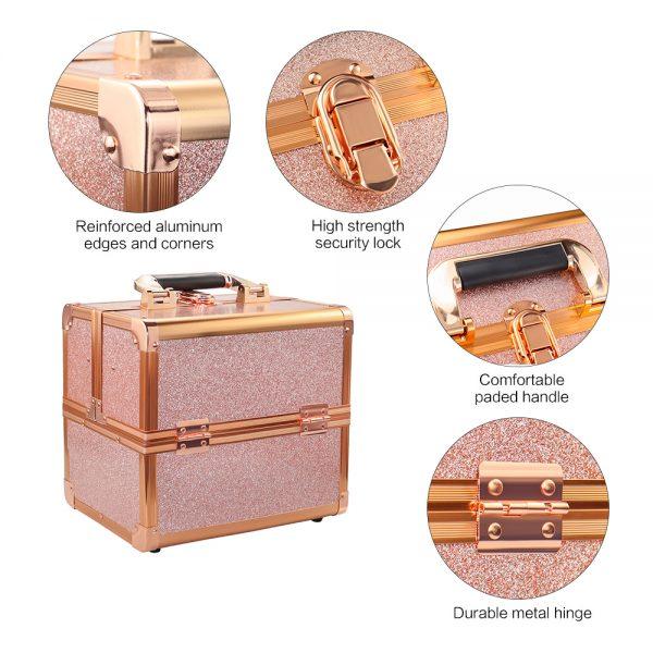 Бьюти кейс для косметики CWB 8316 розовое золото - изображение 8