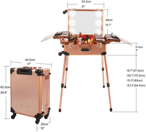Мобильная студия визажиста розовое золото Premium LC011 - изображение 7