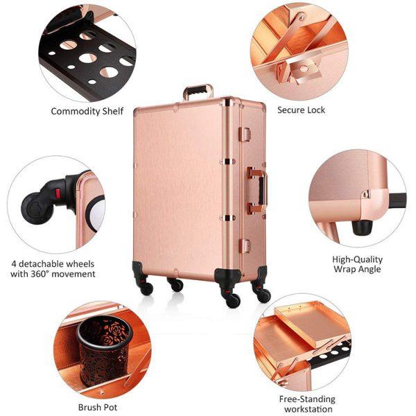 Мобильная студия визажиста розовое золото LC 004 - изображение 3