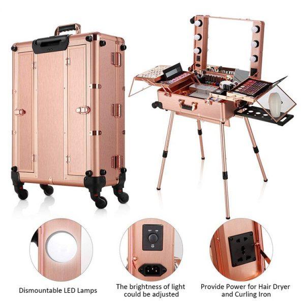Мобильная студия визажиста розовое золото LC 004 - изображение 7