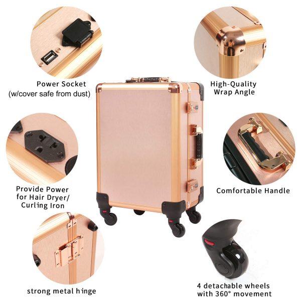 Мобильная студия визажиста розовое золото Premium LC011 - изображение 3